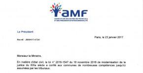 Courrier de saisine adressé par l'AMF au ministre de la Justice, concernant particulièrement le changement de prénom