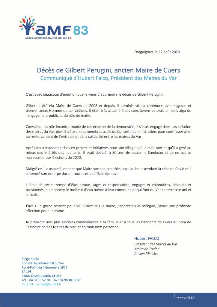 Communiqué Décès de Gilbert Perugini