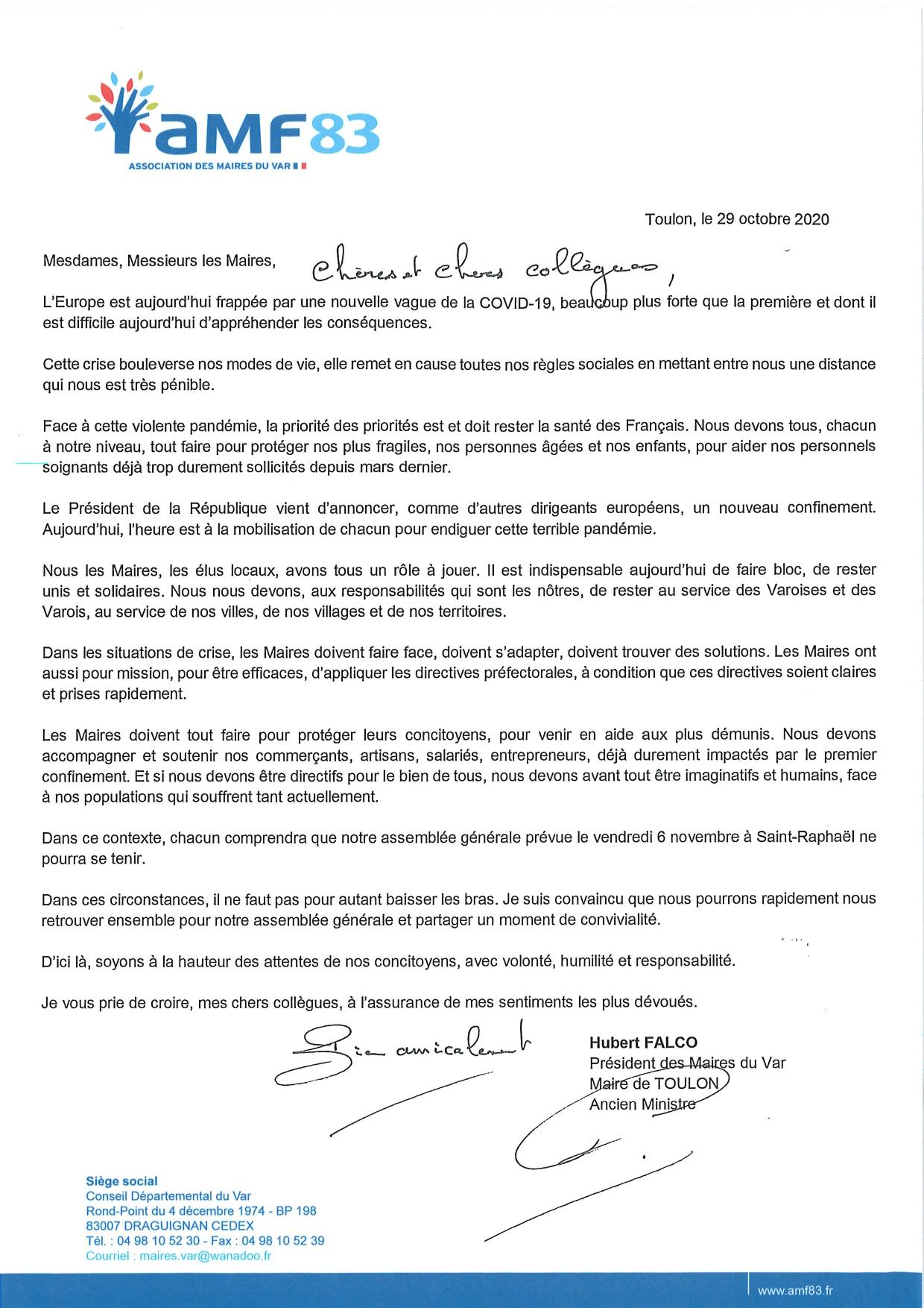 Lettre du Président AMF83 Annulation de l'Assemblée générale du 6 novembre 2020_page-0001